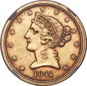 1841-C Half Eagle — NGC AU55 because there are no images of a real 1841-O coin (Heritage Auctions)