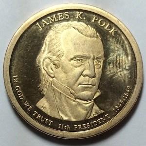 2009-S James K. Polk Dollar PROOF found in change