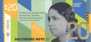 Baltimore BN20 BNote with portrait of Lillie May Carroll Jackson