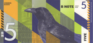 Back of Baltimore BN5 BNote with image of a Common Raven (Nevermore!)