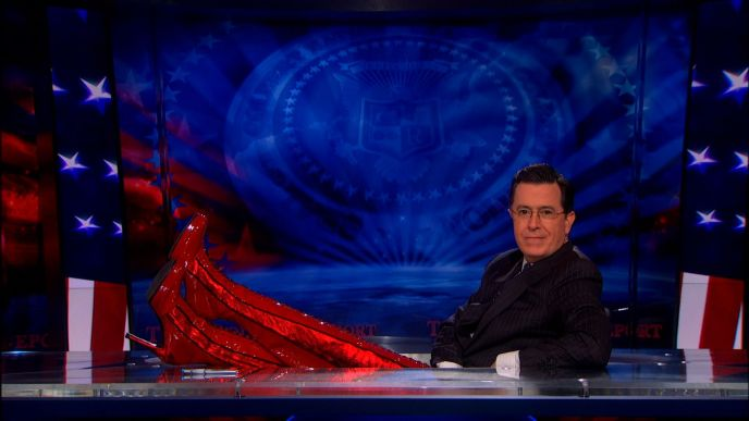 Stephen Colbert in Kinky Boots on The Colbert Report on May 15, 2013 with Cyndi Lauper
