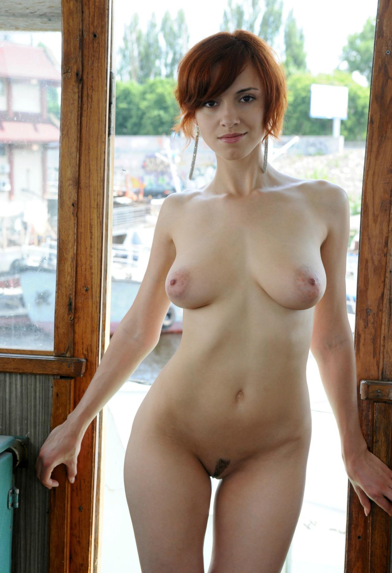 Short hair girl beach nudists