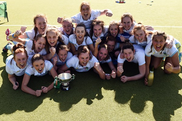 2 April 2017; UCD players celebrate their side's victory following the Irish Senior Ladies Hockey Cup Final match between UCD and Cork Harlequins at the National Hockey Stadium UCD in Belfield, Dublin. Photo by David Fitzgerald/Sportsfile