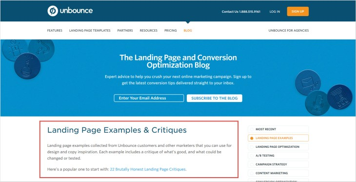 UNBOUNCE CATEGORY LANDING PAGE