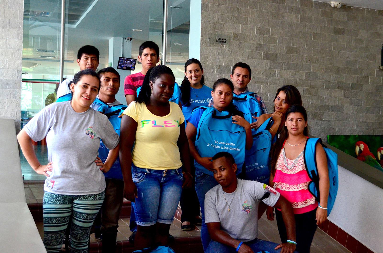 Voluntarios de la CCCM en el departamento de Arauca, tras un taller de formación en Tame, con el acompañamiento de Unicef