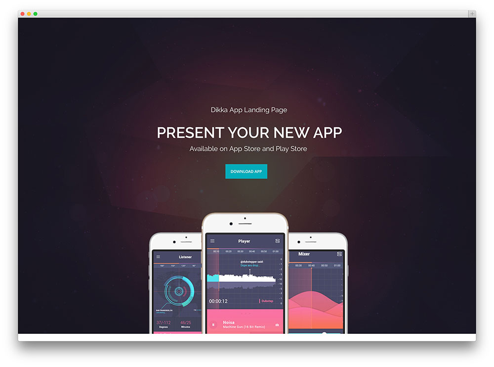 dikka - full screen app landing page
