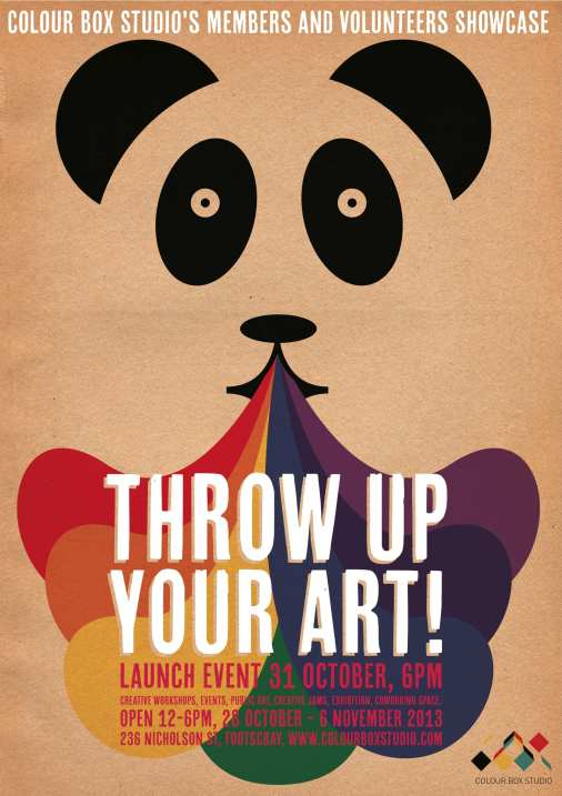 Colour Box Studio Members and Volunteers Showcase Program. Poster Design by Emma Bemrose.