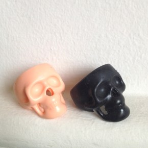 Kirri-MaDe - Skully Resin Rings - Orange and Black - Colour Box Studio Online Shop