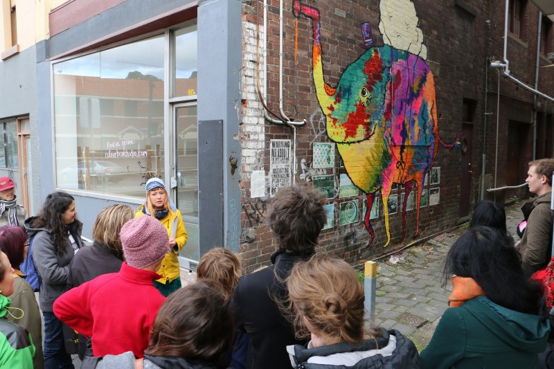 Colour Box Studio Public Art Program - Cosmic Forest by Tasha Whittle 04 - Footscray Art Crawl Crowd