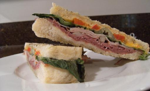 Panini sandwiches made with homemade sourdough bread