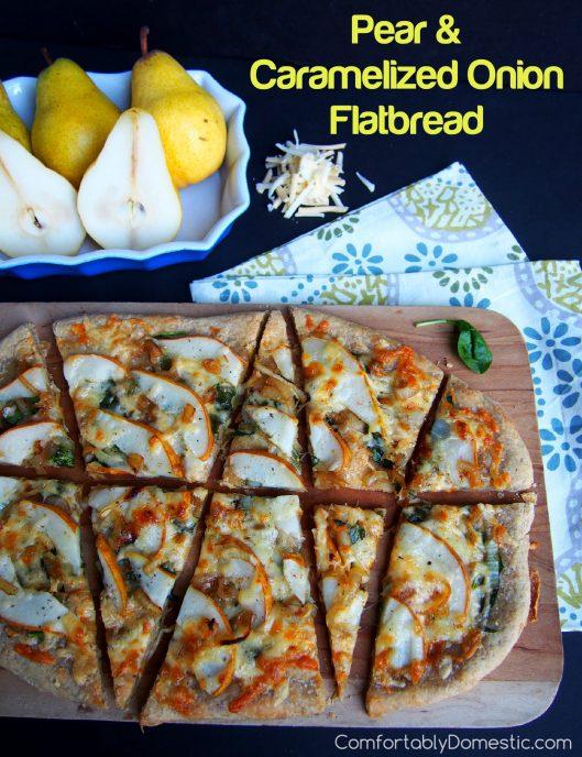 Pear and Caramelized Onion Flatbread | ComfortablyDomestic.com