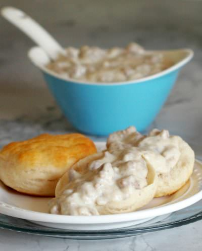 Light-Sausage-Gravy is every bit as creamy and dreamy as the full fat variety but with nearly half of the fat and calories. The lightened up version of this Southern classic is still pure comfort food!
