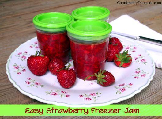 Easy Strawberry Freezer Jam | ComfortablyDomestic.com