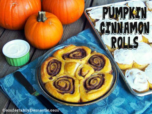 Pumpkin Cinnamon Rolls for Pumpkin Week | ComfortablyDomestic.com