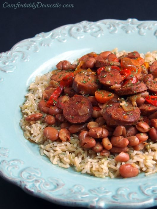 Slow Cooker Chicken Andouille Beans and Rice | ComfortablyDomestic.com