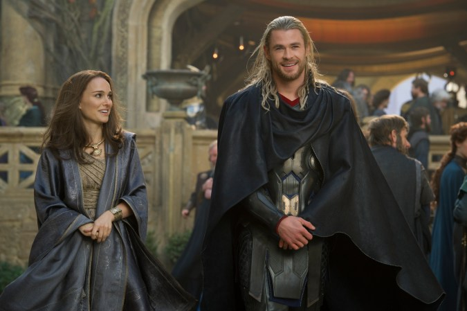 Natalie Portman and Chris Hemsworth in Thor: The Dark World