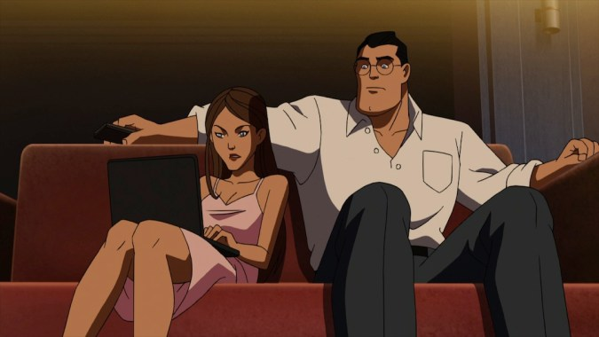 Lois and Clark on the couch in Superman vs. the Elite