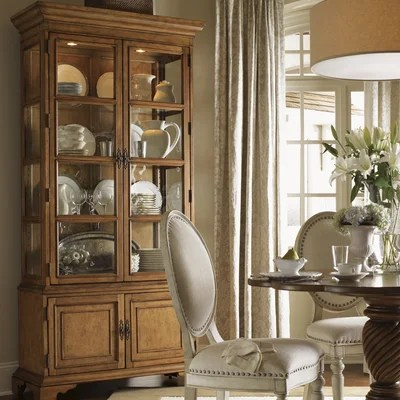 Image of Lexington Twilight Bay Pierpoint Display Cabinet in Distressed Aged White Crackle Antique (LTN1942)