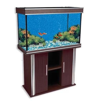Aquarium with Silver Trim and Stand Color: Walnut | Fish Aquarium Mart