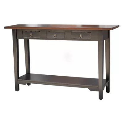 Image of Casual Elements Colonial Console Table in Distressed Black (CID1106)