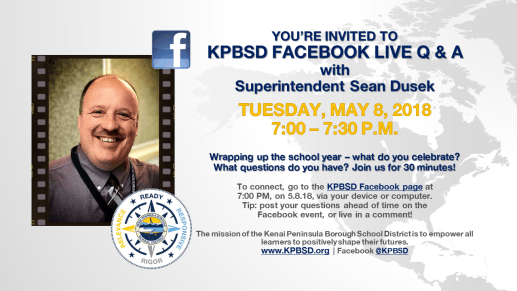 20180508 Facebook Live Q and A events with Superintendent Dusek