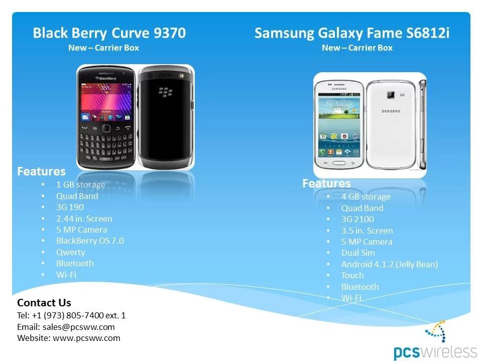 Blackberry Curve 9370, Samsung Galaxy Fame celulares al por mayor