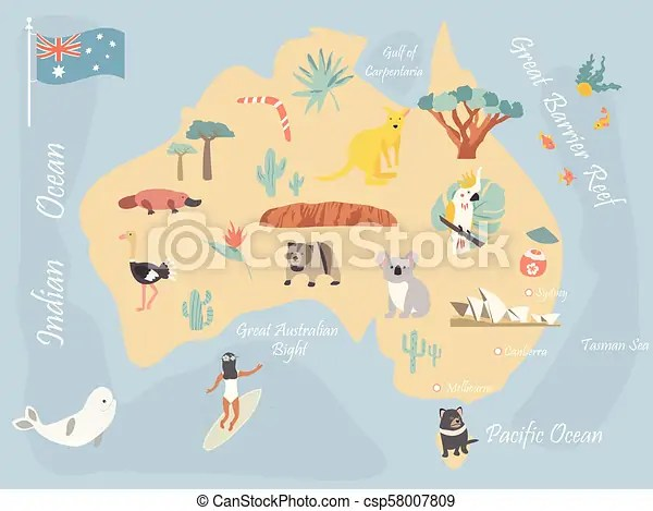 Travel map of australia with landmarks and wildlife  vector clipart     Map of Australia with landmarks and wildlife   csp58007809