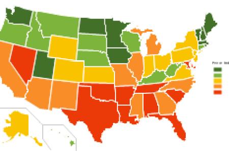 ranks us states by peacefulness | izational chart