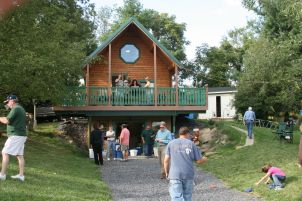 Family party at Conestoga log Cabin