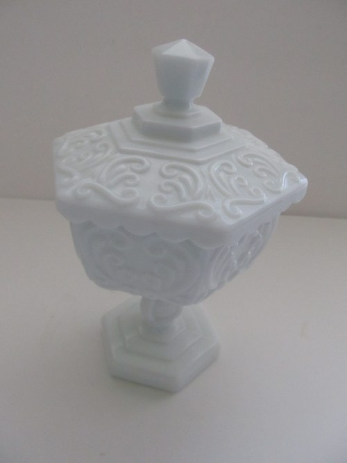 Hexagon Milk Glass Lidded Dish (8)