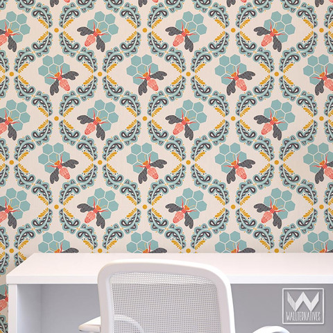 honey-bee-geometric-modern-WallAppeal-wallpaper-zoom_large