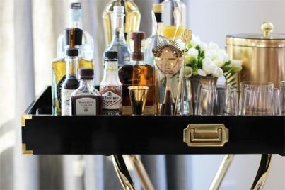 Black and gold barcart