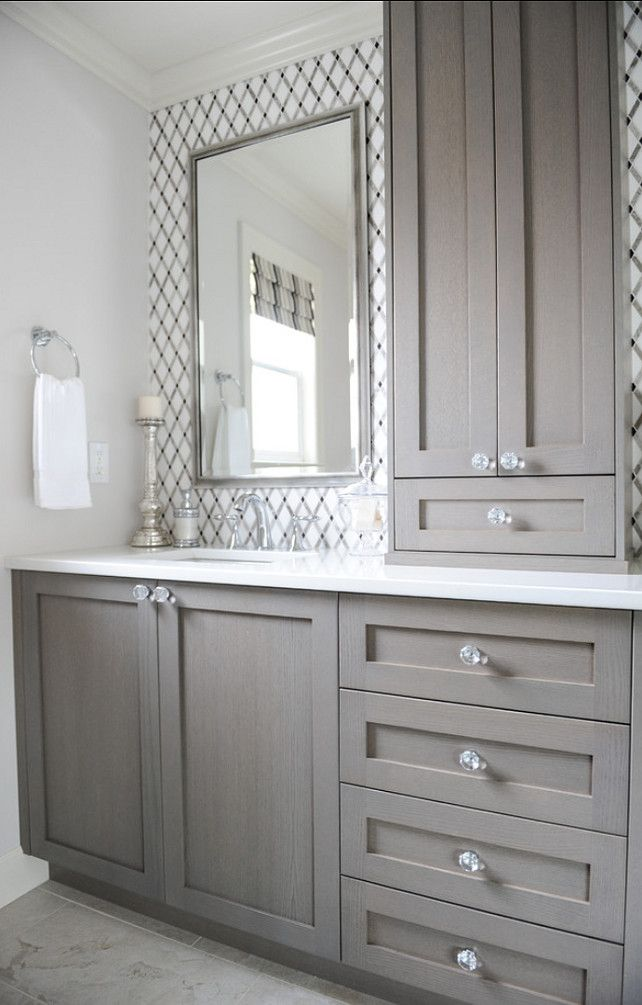 Give your bathroom a budget freindly makeover confettistyle for Grey bathroom cupboard