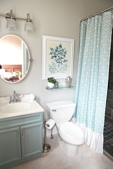 Seafoam bathroom cabinets