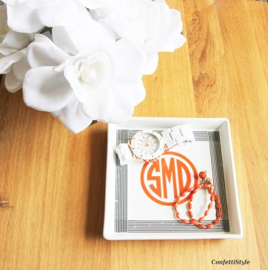 DIY Monogram Dish by ConfettiStyle