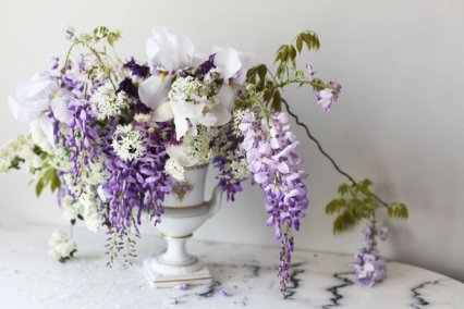 Garden Wisteria and Iris Arrangement
