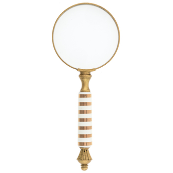 Gold and White Striped Magnifying Glass