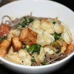 Tofu, Cauliflower & Greens with Soba Noodles and Miso Tahini Sauce