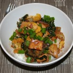 Stir Fried Bok Choy and Orange Cauliflower with Tofu