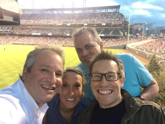 Brian Katz, Kristen H. Rachels, me and Simon May (l to r) at the Rockies