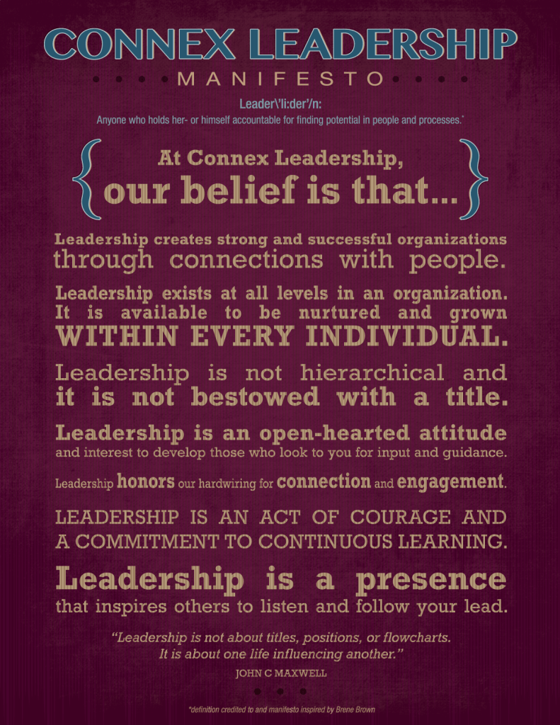 Connex Leadership, Leadership Development and Executive Coaching, Leadership Manifesto