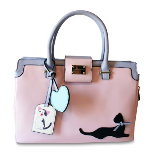 Pretty In Pink Cat Handbag front square
