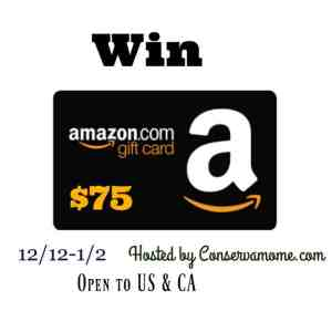 $75 Amazon Gift Card Giveaway ends 1/2