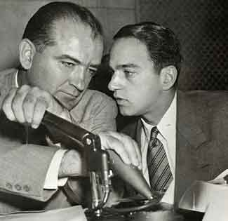 Lawyer Roy Cohn (right) with Sen. Joseph McCarthy.