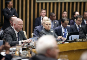 U.S. Secretary of State Hillary Rodham Clinton delivers remarks at a United Nations Security Council Session on the situation in Syria at the United Nations in New York City, New York on January 31, 2012. [State Department Photo]