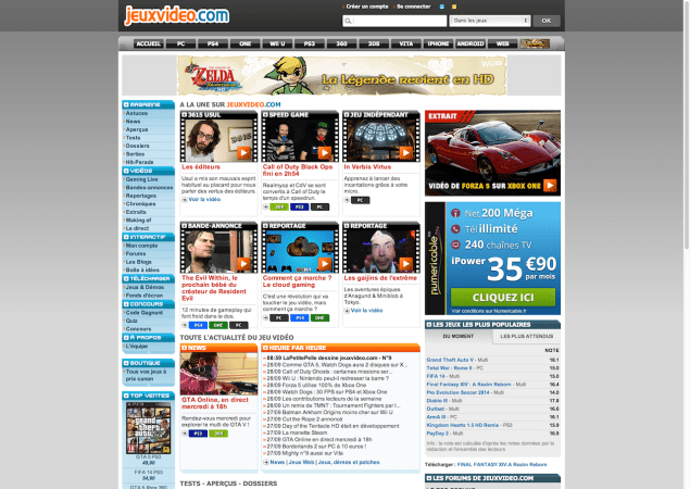 Image of jeuxvideo.com design on Sept. 29th