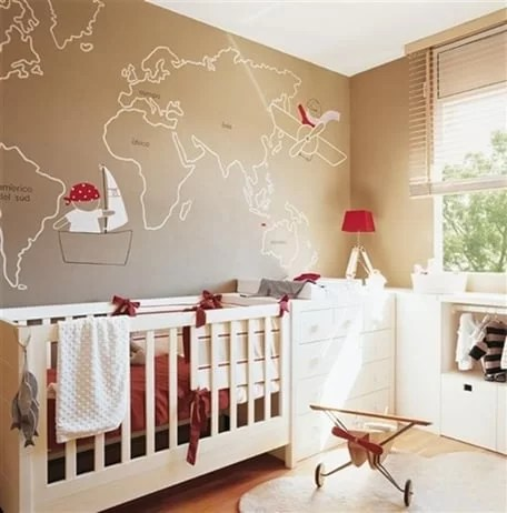 quartinho de bebe com mapa decoracao