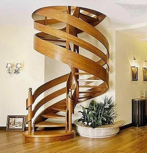 escada caracol de madeira moderna