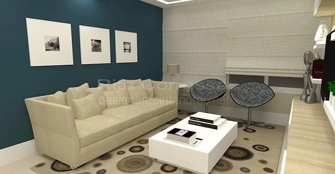 04 sala de estar decoracao sofa bege e poltronas azuis