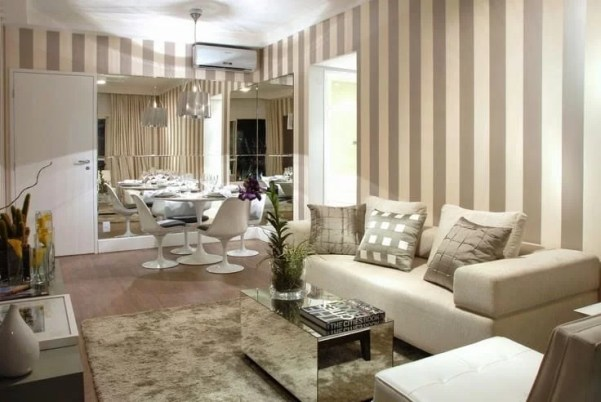tapete para sala pequena e elegante